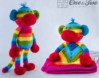 Combo Pack - Rainbow Sock Monkey Lovey and Amigurumi Set for 7.99 Dollars - PDF Crochet Pattern - Instant Download - Special Offer Pack