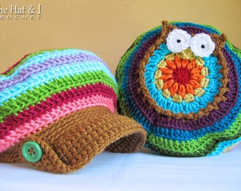 Crochet Pattern - B HOO UR Hat - owl hat pattern, slouchy hat pattern, crochet hat pattern (Toddler - Adult sizes) - Instant pdf Download