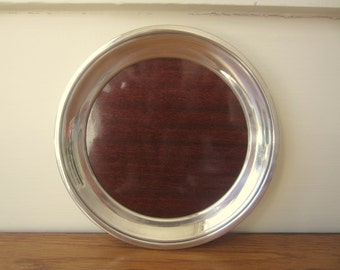 Vintage round 7 and 3/4 inch 1960s silver and formica Crescent tray.  Rare smaller tray.