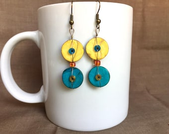 Sun and Sea Earrings...Extreme Decaf Earrings...FREE U.S. SHIPPING
