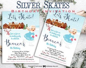 Silver Skates Winter Fun Birthday Invitation. Christmas Birthday Invitation.