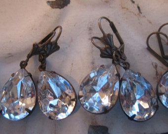 Crystal Rhinestone Bridal Earrings Vintage Crystal Tear Drop Rhinestone Earrings Set Of Five Wedding Jewelry Art Deco Special Occassion