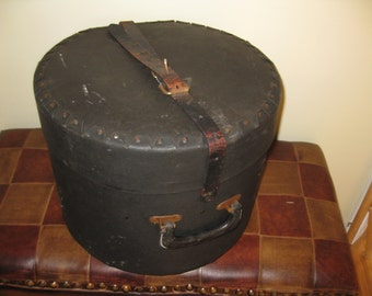 "ANTIQUE DRUM BOX-Black Number 4 on the Lid 15 1/4"" Across 11 1/2"" High, Looks Like Leather But It Is A Hard Cardboard Material"