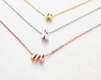 delicate block diamond necklace gold letter and