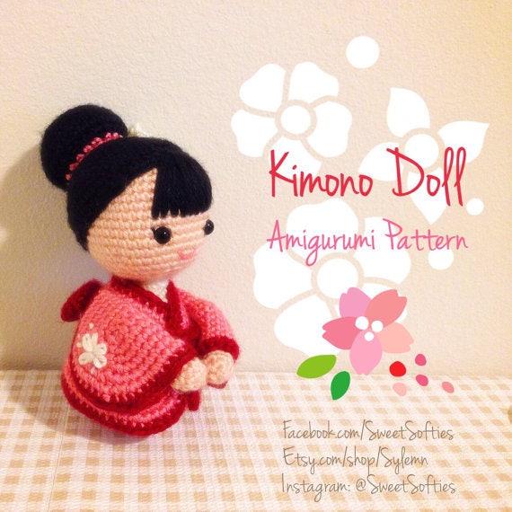 Amigurumi ganchillo muñeca patrón - muñeca Kimono japonés, Anime ...