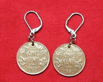 1931 real Canadian 1931 as earrings