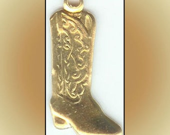 12 Raw Brass Charms Western Cowboy Boot
