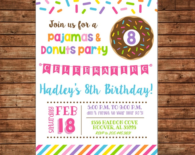 Girl Invitation Donut Donuts Sprinkles Pajama Sleepover Birthday Party - Can personalize colors /wording - Printable File or Printed Cards