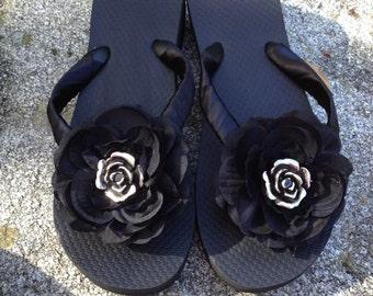 Bridal Flip Flop/Wedges/Sandals.Beach Weddings.Black Flip Flops. Bridesmaids Flip Flops. Destination Weddings.Bling Flip Flops.
