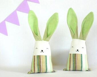 Green rabbit, linen bunny, baby toy, baby teething toy, baby sensory toy, stuffed animal toy, handmade bunny, Easter bunny basket
