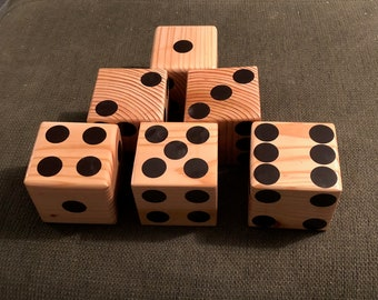 Beautiful hand crafted Giant lawn dice 3.5x3.5 so Zatzee or Farkle ma be played