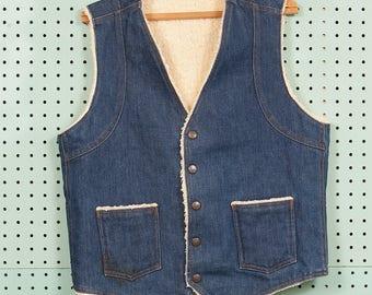 70s Vintage Big Smith Denim Vest Size M Shearling Trucker