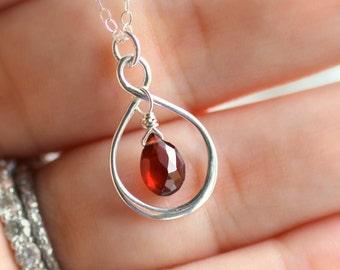 Garnet Necklace, January Birthstone Necklace, January Birthday Gift, Infinity Necklace, Red Garnet Birthstone Necklace, New Mom Gift, Silver