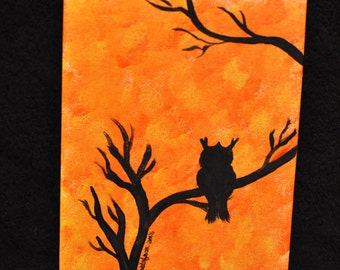 Hand Painted Owl in Tree