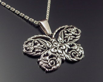 Butterfly Necklace Sterling Silver Butterfly Necklace Filigree Butterfly Pendant Butterfly Jewelry