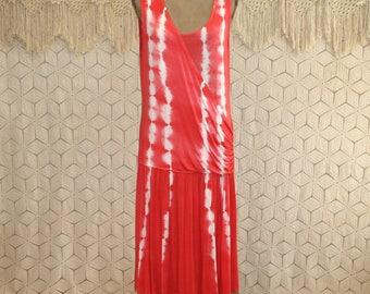 Sleeveless Jersey Knit Dress Beach Summer Dress Large Tie Dye Dress Casual Dress Tank Dress Coral White Drop Waist Dress Womens Clothing