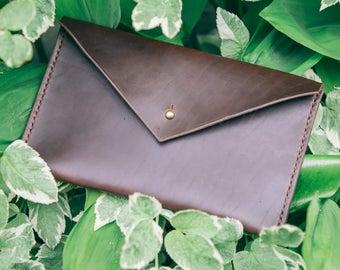Leather Envelope Clutch - - Envelope Clutch - Leather Envelope - Brown Leather Clutch - Womens Leather Wallet - Womens Leather Clutch