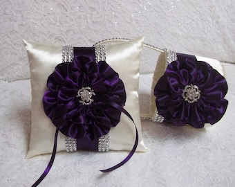 Purple Bling Flower Girl Basket and Ring Bearer Pillow Set, Dark Plum Purple & Ivory Bling Flower Girl and Ring Bearer Pillow