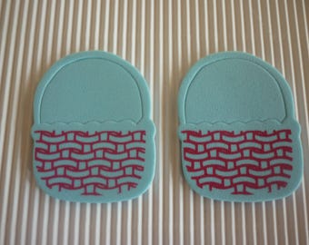Easter basket foam, turquoise and Red patterns sold in packs of 2.