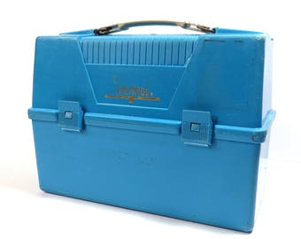 Blue Thermos Plastic Lunchbox Vintage 1970s Kids Plastic Lunch Pail / Lunch Box