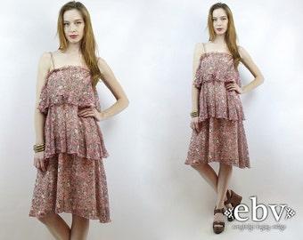 Hippie Dress Hippy Dress Festival Dress Boho Dress Floral Dress Summer Dress 70s Dress Vintage 70s Dusty Rose Ruffled Floral Sundress XS S