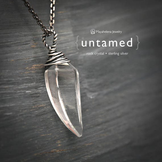 Untamed - Claw / Fang Shaped Rock Crystal Sterling Silver Necklace