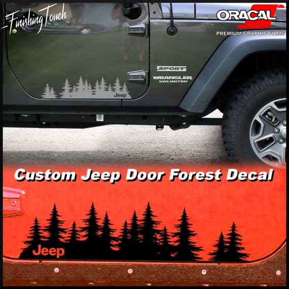 Jeep decal custom tree forest vinyl graphic door set a unique