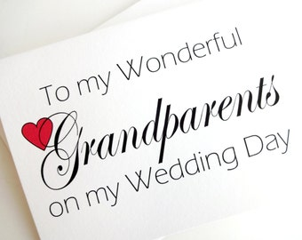 Grandparents Wedding Card - Wedding Thank You for Grandparents Card