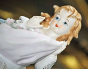 LEFTON Bisque Figurine Vintage Hand Painted