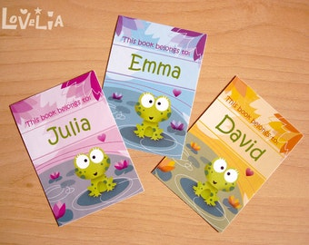 "Personalized Bookplates Stickers ""Phine The Frog""  set of 9"