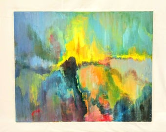 Mid Century Oil on Canvas Abstract Expressionist Harbor on Fire City Lights Northern Lights Yellow Blue