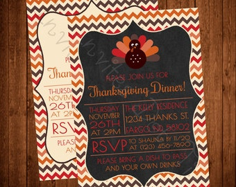 Cute Turkey Thanksgiving Invite (Chalkboard or White Available!)