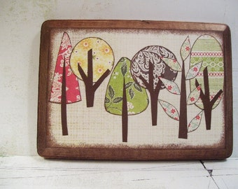 Decoupaged Wall, Key, Jewelry Hook, Plaque, Dog Leash Holder, Hanger-5X7 Colorful Trees, Kitchen Storage, Organization, MADE TO ORDER