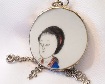Antique China Porcelain Pendant Necklace Hand Painted Chinese Pottery Shard Geisha Jewelry