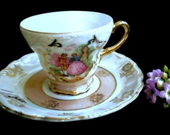 Vintage Porcelain Lustreware Cup and Saucer, Fragonard Decor, Versailles