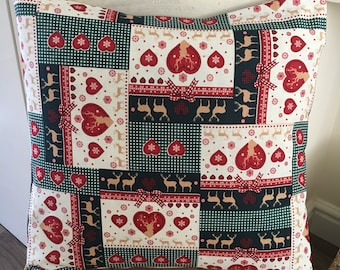 """Shabby Chic Patchwork Love Heart/Reindeer 16"""" Cushion Cover"""