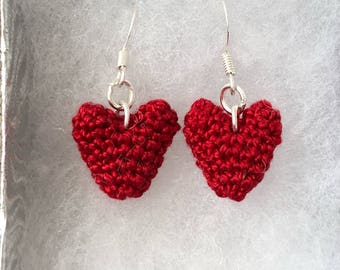 Crocheted heart earrings - crochet heart jewellery - the perfect gift for Valentine's Day