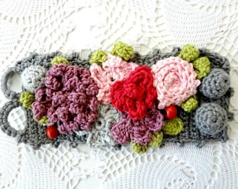 Bohemian Crochet Bracelet, crocheted array of flowers, statement bracelet, flower bracelet,