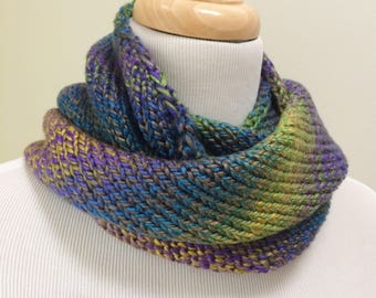 Knit Circle Scarf, Knitted Neckwarmer, Wool Free Infinity Scarf, Colorful Loop Scarf, Blue Circle Scarf, Gift for Her, Gift under 50.