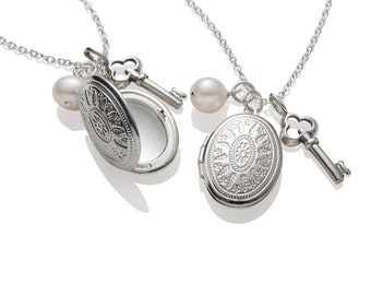 3 Bridesmaid Gift Locket Key Charm Necklaces , Wedding Jewelry Sterling Silver , Pearl