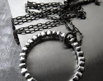 Textured Circle Pendant Necklace, Modern Silver Circle Necklace, Black Gunmetal Chain, Geometric, Architectural, Modern Minimalist Jewelry