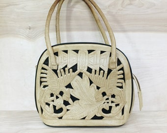 Vintage Mexican Tooled Leather Purse with Aztec Detail