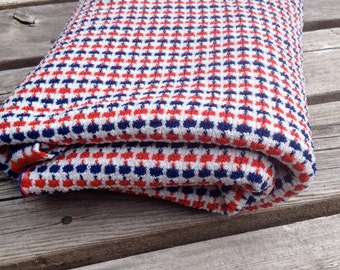 Vintage Knit Jersey Red White and Blue Fabric. Stretchy. USA. Crafts. July 4th.