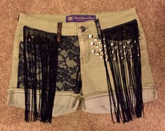 Lace & Leopard Custom Studded Shorts Punk Burning Man Fringe