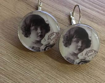 """Silver earrings """"postcard"""" substrate"""