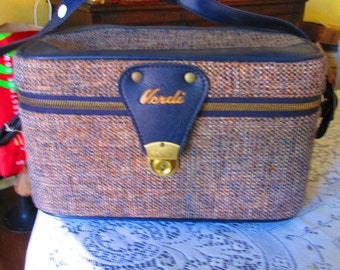Vintage Verdi Train Case With Key / 60s Soft Train Case Mirror And Support Bar Original Tags