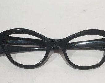 Vintage New Old Stock 50s Black Cat Eye Glasses, Black Frame France Cateye Eyeglasses, NOS, Horn Rimmed Frames, Rockabilly Hipster Pin Up