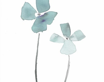 """GICLEE PRINT Teal Blue and Gray Rockcress Flower Watercolor, Print for Sale, Minimalist Art, Austin, Texas """"Let Your Light Shine"""""""