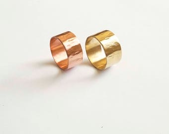 9.5mm Cigar Band Ring Thick ring for her ring for him wide ring hammered texture round edges gold colored brass sterling silver copper 0213