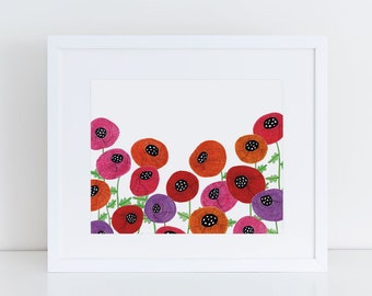 8x10 Giclee Art Print, Poppy Flower, Botanical Prints, Kitchen Wall Decor, Gift for Her, Mixed Media, Living Room Decor, Gift for Wife
